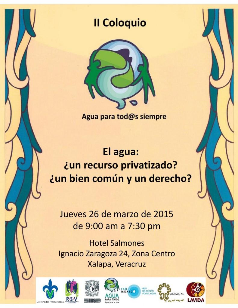 Coloquio en xalapa veracruz 26 marzo agua para todos agua para la